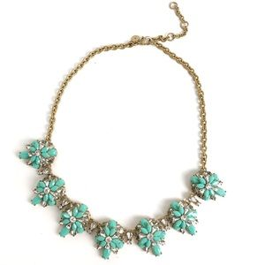 J. Crew Turquoise Clear Gold Statement Necklace 17